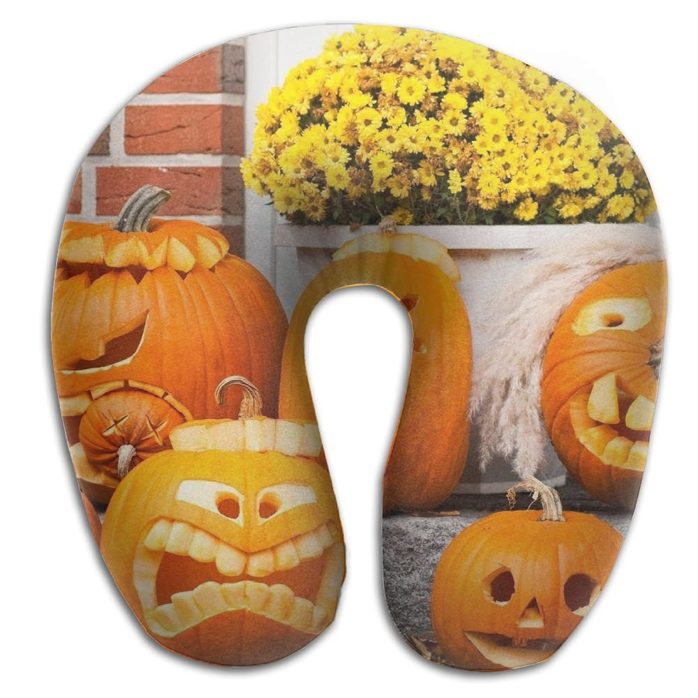 メモリーフォームネック枕Funny Face Pumpkins快適なソフトU字旅行枕ヘッドサポートfor Travel Office Sleeping   B0776QQ21T