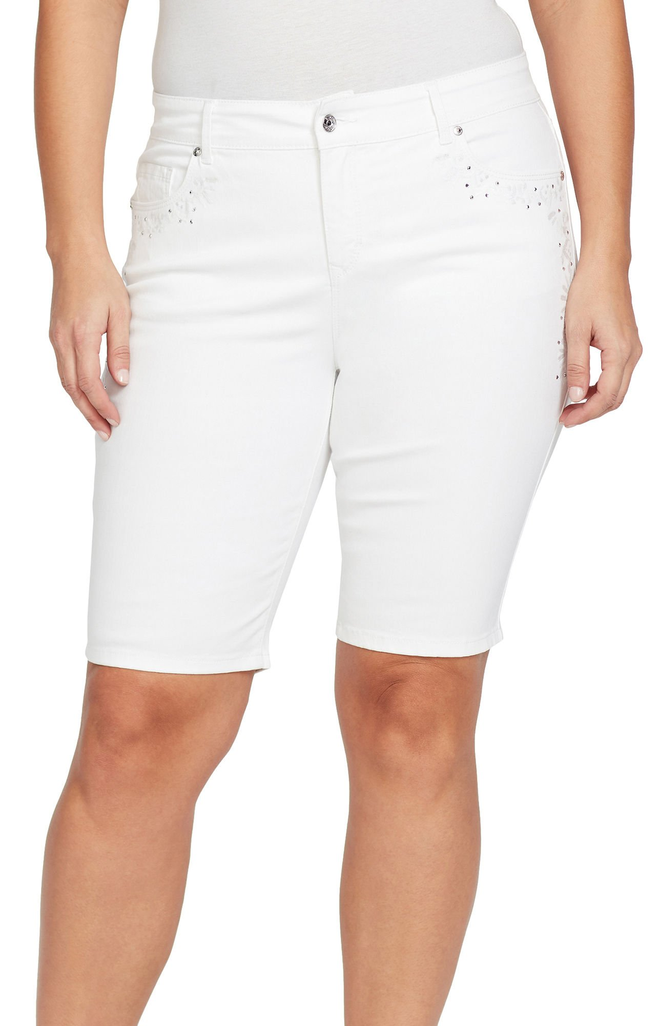 Gloria Vanderbilt Plus Jessa Bermuda Shorts 16W Crystal White