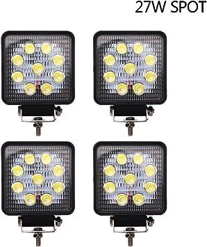 4X 4INCH 27W Square LED WORK LIGHT BAR Spot Flood OFFROAD DRIVING FOG LAMP 12V Y