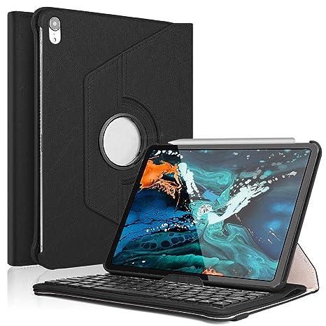 iPad Pro 11 Keyboard Case 2018,Boriyuan 360 Degree Rotating Stand PU Leather Smart Cover