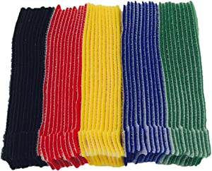 BALABALA 50pcs Multi-Purpose Reusable Hook and Loop Cable Ties Fastening Straps Tie downs - 5 Color