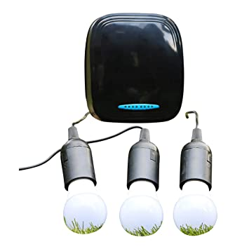 PK Green 12V DC Lighting Kit + Powerful Lightweight Lithium Battery | 3 LED  Bulbs | Can Use With Solar Panel (Not Included) | Portable Off Grid Power