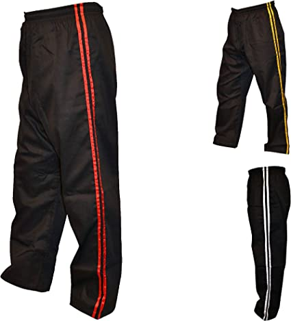 TurnerMAX Artes Marciales Karate Pantalones Negro con Red Stripe