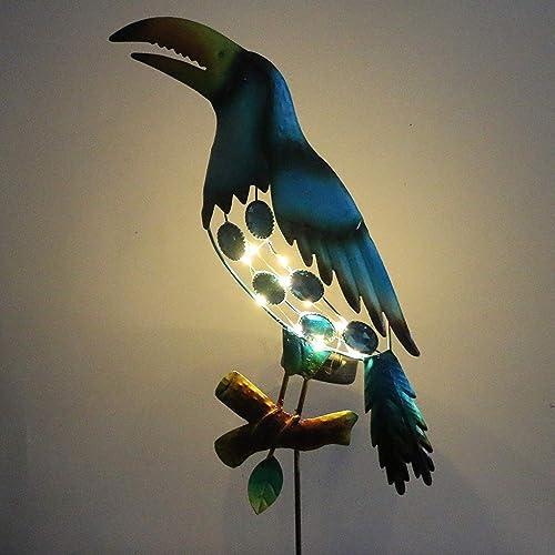 EH-GARDEN Solar Animal Light Outdoor Metal Bird Figurine Decor for Garden Yard