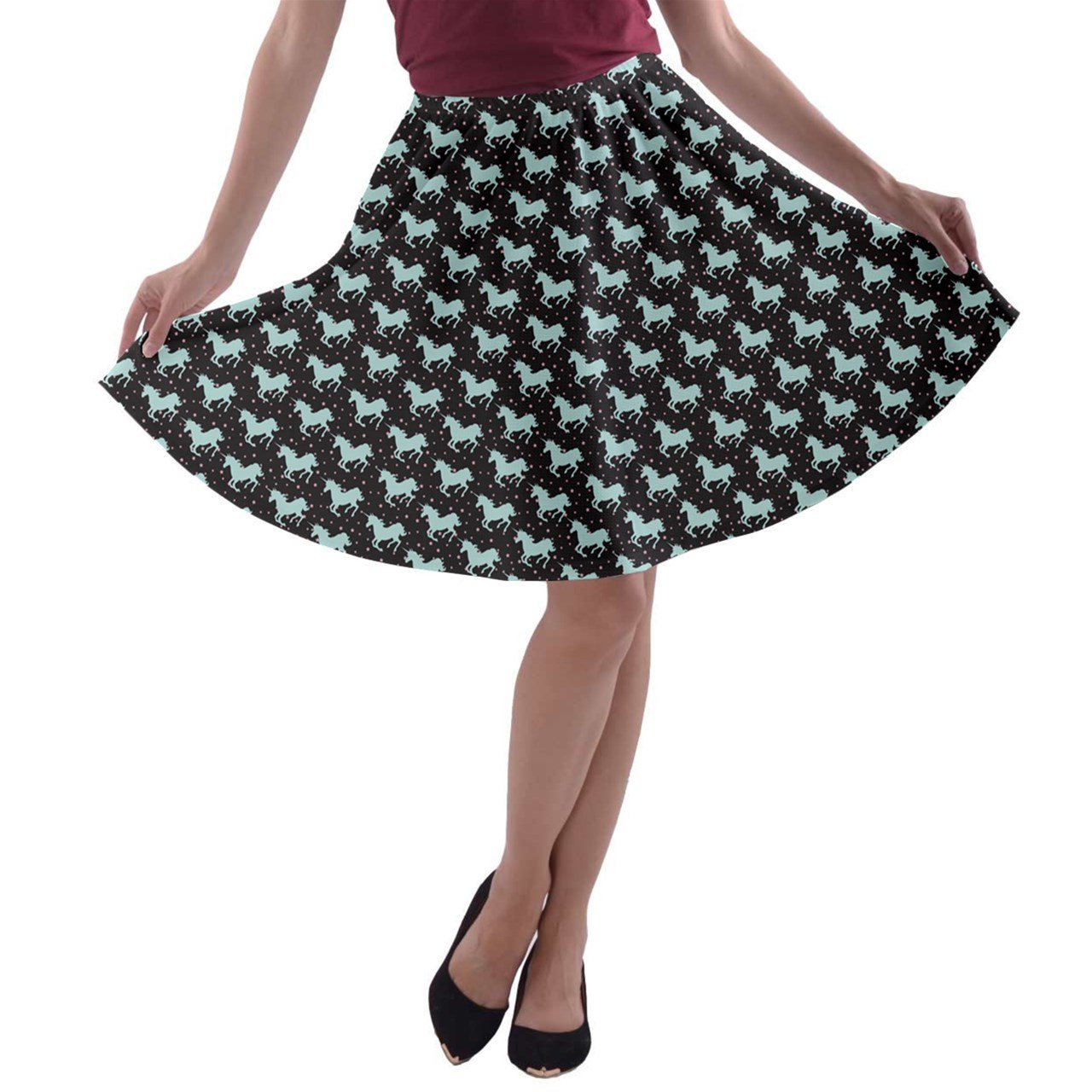 Jogja Women's Unicorn Silhouettes Pattern A-Line Skater Skirt Jogja1-98466216