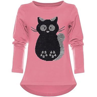 f7eccb31a4 BEZLIT Kinder Mädchen Wende-Pailletten Langarmshirt Langarm Shirts 21729  Dunkelrosa Größe 104