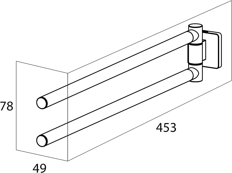 Acero Inoxidable Cepillado Tiger Dock Toallero de 2 Barras 4.9 x 7.8 x 45.3 cm