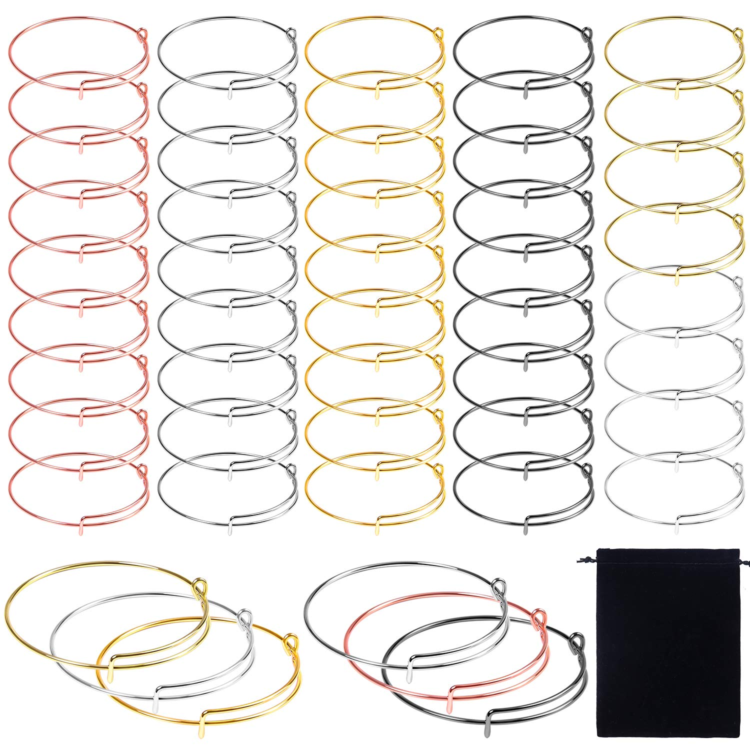 Ruisita 50 Pieces Expandable Bangle Adjustable Wire Bracelets Blank Bangle Bracelets with Storage Bag for DIY Jewelry Making Charms Bracelets (Mixed 6 Colors A) by Ruisita