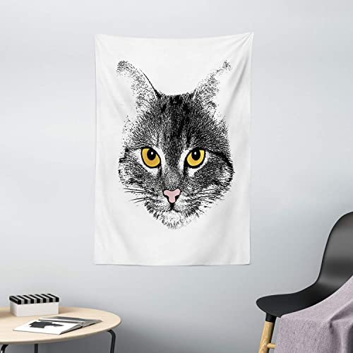 Ambesonne Cat Tapestry, Grunge Background with Cat Face Hairy Sketch Animal Drawing Effect, Wall Hanging for Bedroom Living Room Dorm Decor, 40 X 60 , Mustard Black White