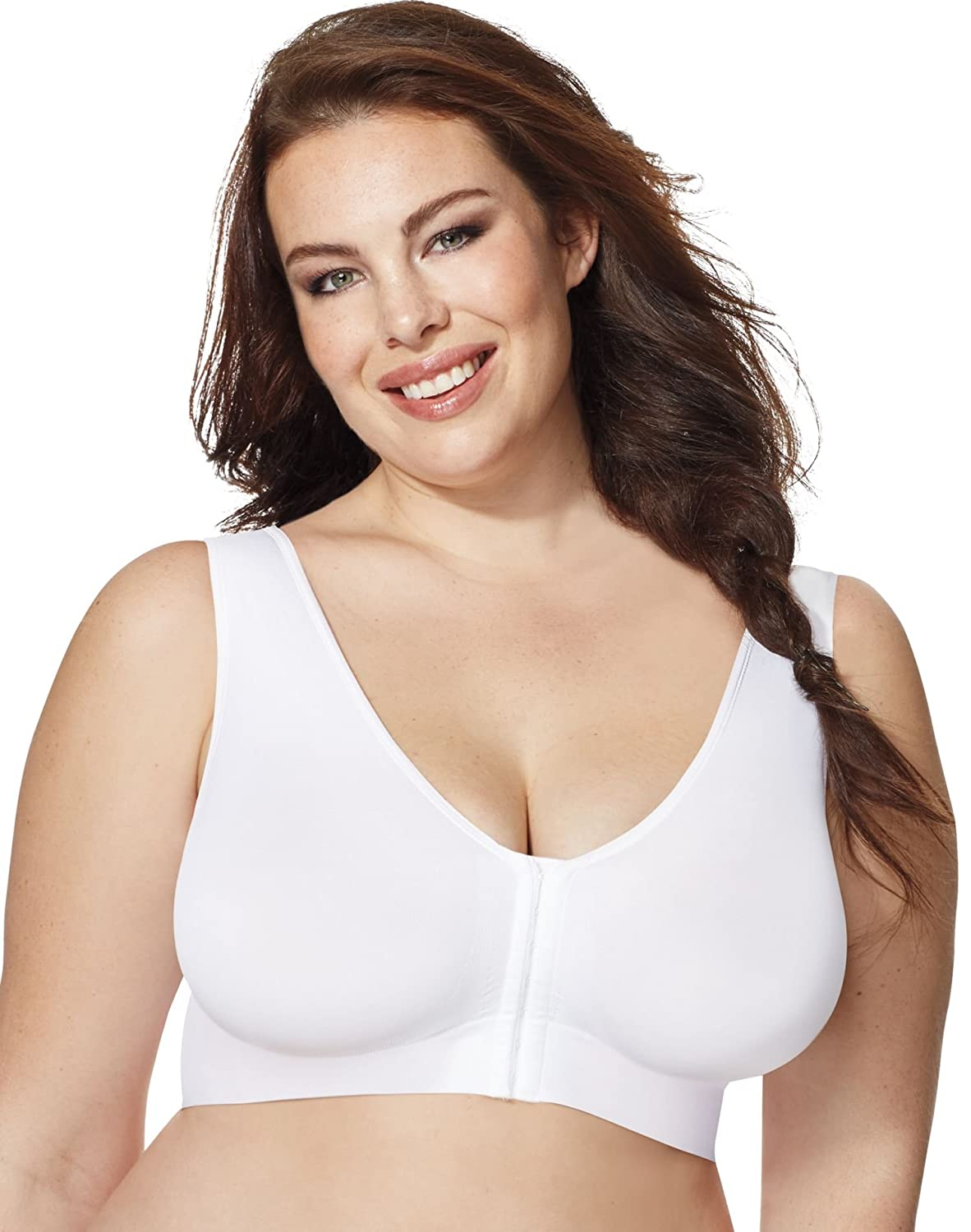 27a4ce20e90e1 Just My Size Pure Comfort Front-Close Wirefree Bra at Amazon Women s  Clothing store