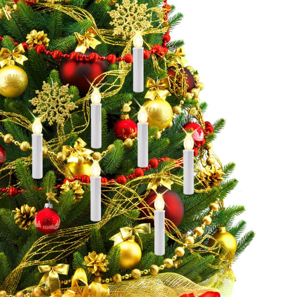 Divine LEDs 10pcs RGB Tree LED Candle Light Key Remote Control with Detachable Clip for Birthday Christmas Wedding Sunsbell LED Candle Light