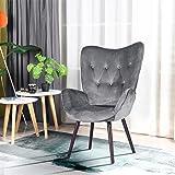 FurnitureR Silla de Ocio Moderna Mid-Century Silla de Ocio con Respaldo Alto Sillas de Brazos con diseño de Terciopelo y…