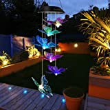 Mosteck Wind Chimes Outdoor Solar Butterfly Wind Chimes Color Changing LED Mobile Wind Chime Make a Great Birthday Gifts for Mom, Hanging Decorative Romantic Patio Lights for Yard Garden Home Party