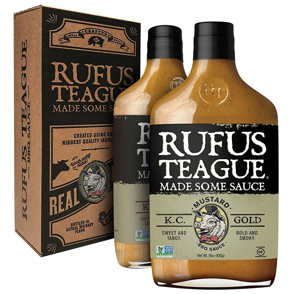 Rufus Teague - KC Gold BBQ Sauce - Premium Mustard Barbecue Sauce - 14.25 oz Bottles - 2 Pack