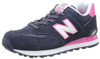 New Balance Women's WL574 Core Plus Collection Running Shoe,Blue/Pink,6.5 B