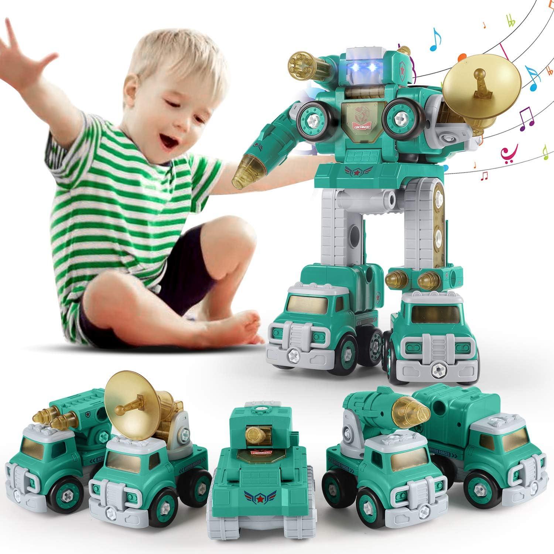 SUMXTECH Take Apart Toy,Car Toys,5-in-1 military Trucks Assemble into Giant Robot £12 w/code 2ARESNA3 @ Amazon
