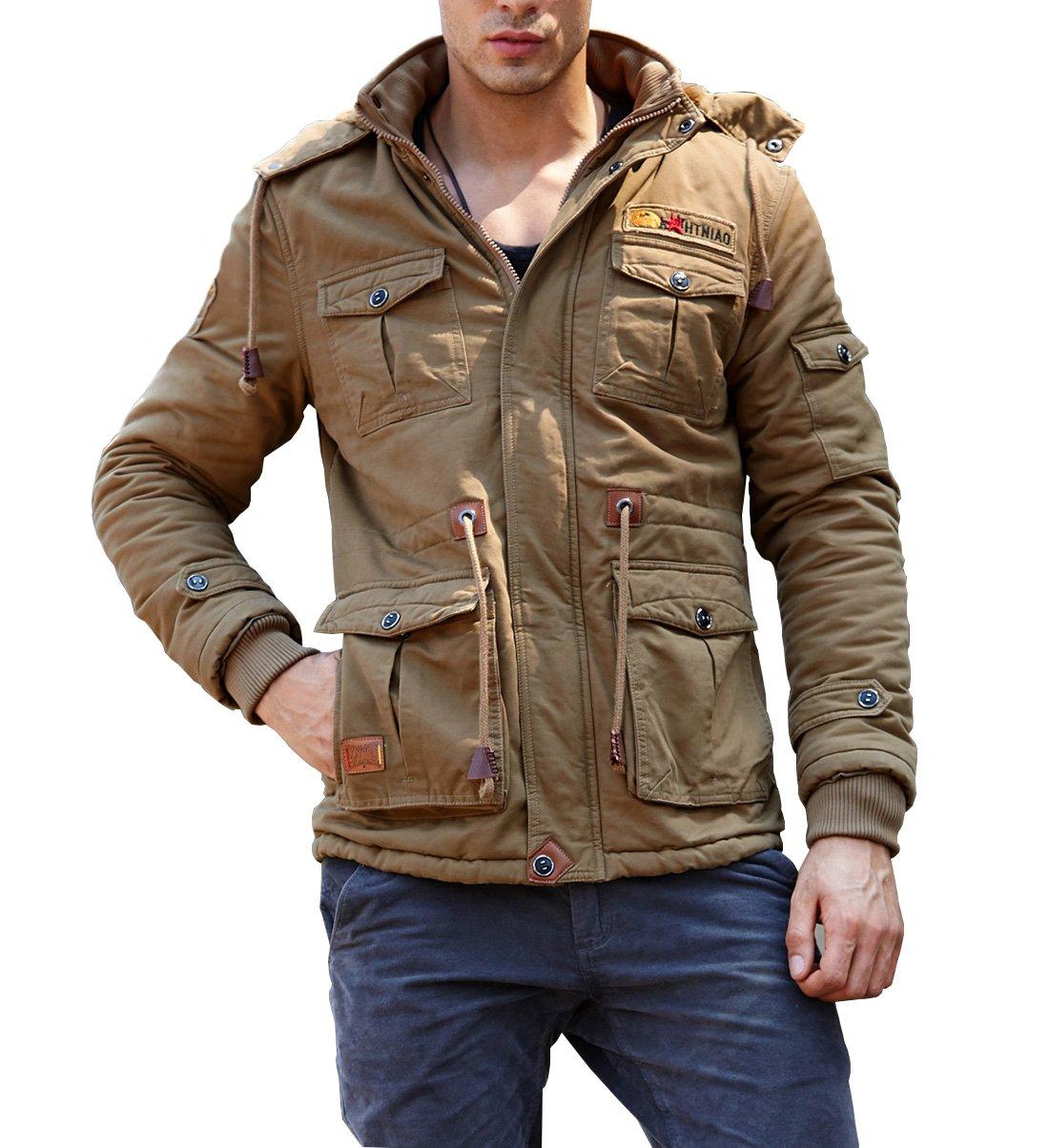 CRYSULLY Men's Autumn Windbreaker Coat Outdoor Hooded Cargo Cotton Utility Full Zip Jacket Khaki by CRYSULLY