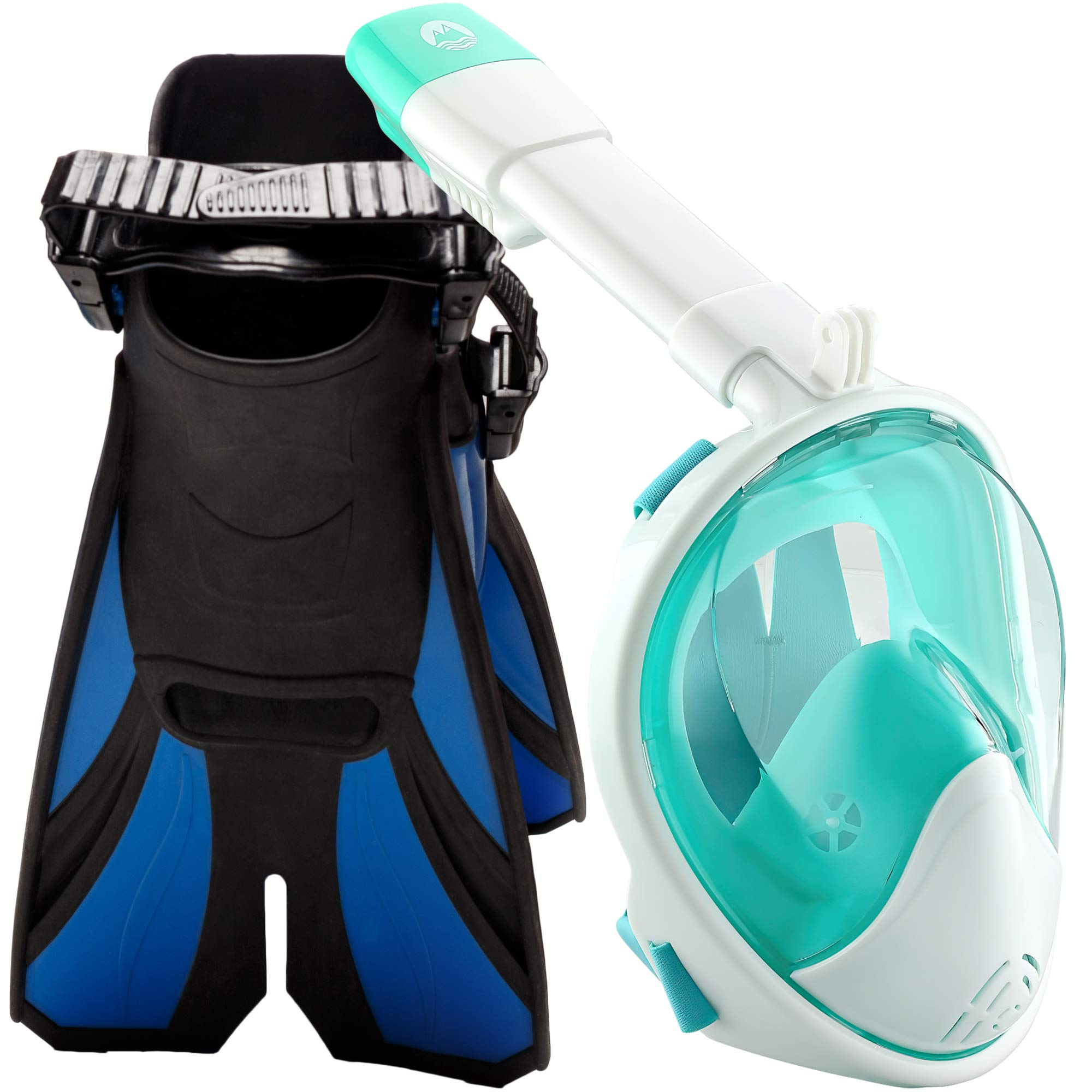 cozia design Snorkel Set with Snorkel MASK - Swim FINS Included - Snorkel MASK Full FACE with Adjustable Flippers - 180° Panoramic View Full face Snorkel mask and Open Heel Snorkel fins by cozia design
