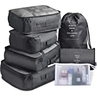 Packing Cubes 7 Pcs Travel Luggage Packing Organizers Set with Toiletry Bag (Black)