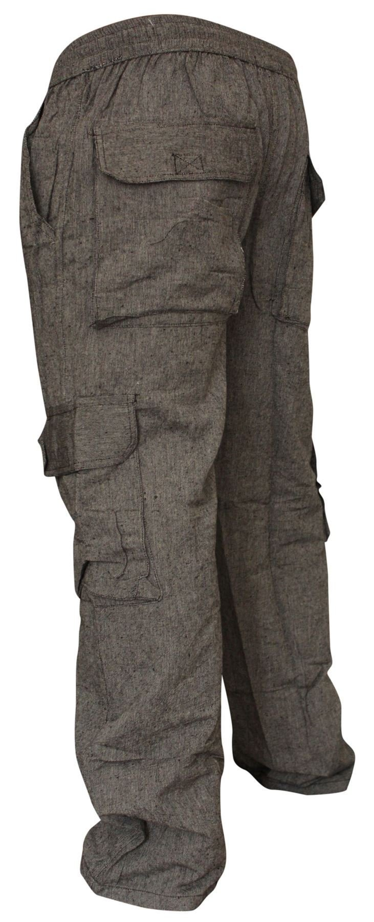 Shopoholic Fashion Mens Plain Hemp Hippie Combat Trousers(M,Dark Grey)