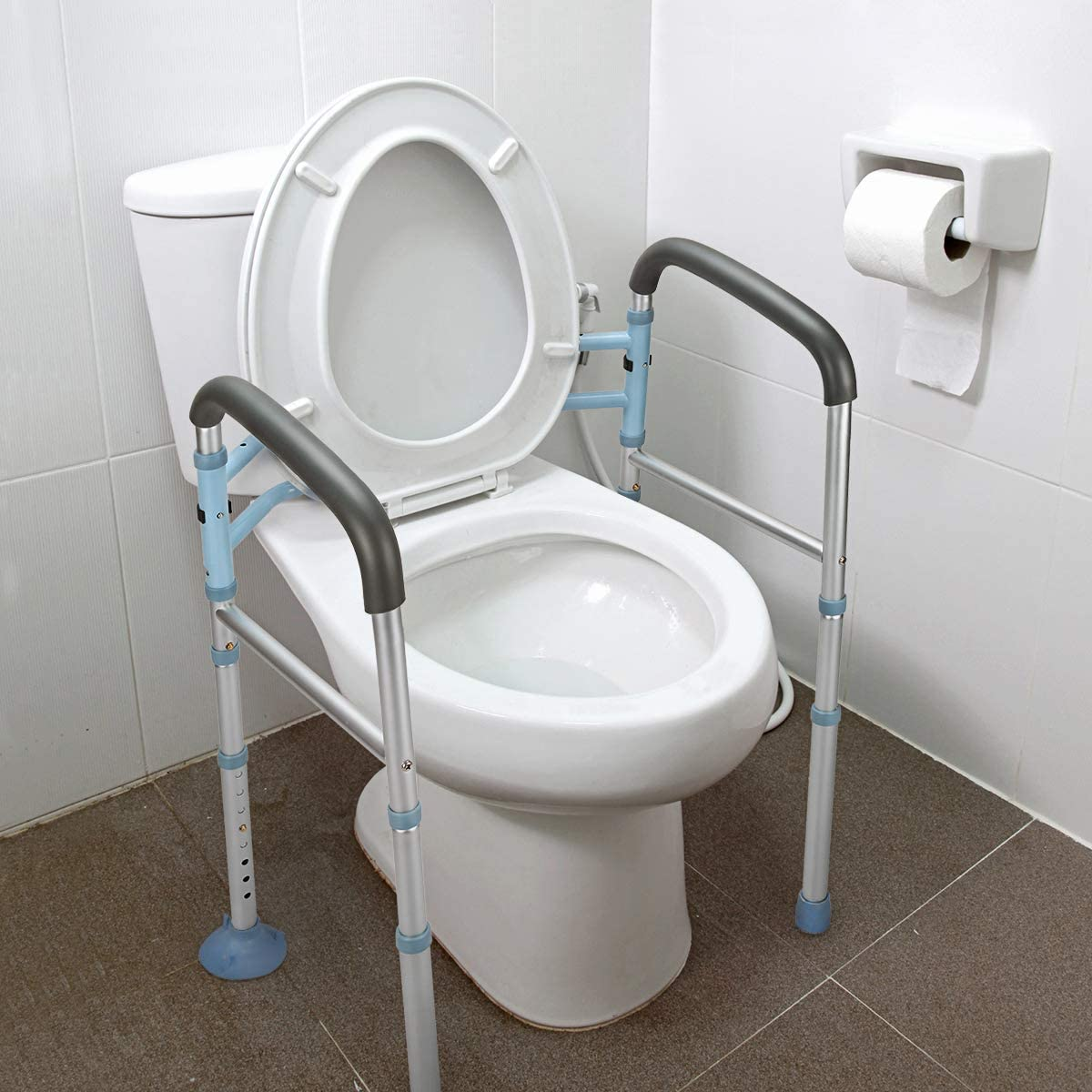OasisSpace Stand Alone Toilet Safety Rail - Heavy Duty Medical Toilet Safety Frame for Elderly, Handicap and Disabled - Adjustable Bathroom Toilet Handrails Grab Bar, Fit Any Toilet: Health & Personal Care