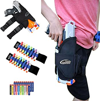 Little Valentine Kids Tactical Waist-Bag and 2 Darts Wristers with 10 Blue Suction Darts and 10 Darts for Nerf N-Strike Elite Series