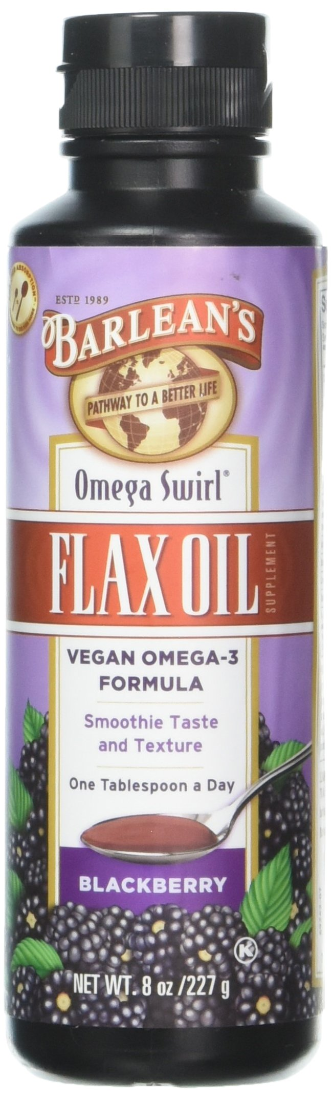 Barlean's Omega Swirl Flax Oil, Blackberry, 8-oz