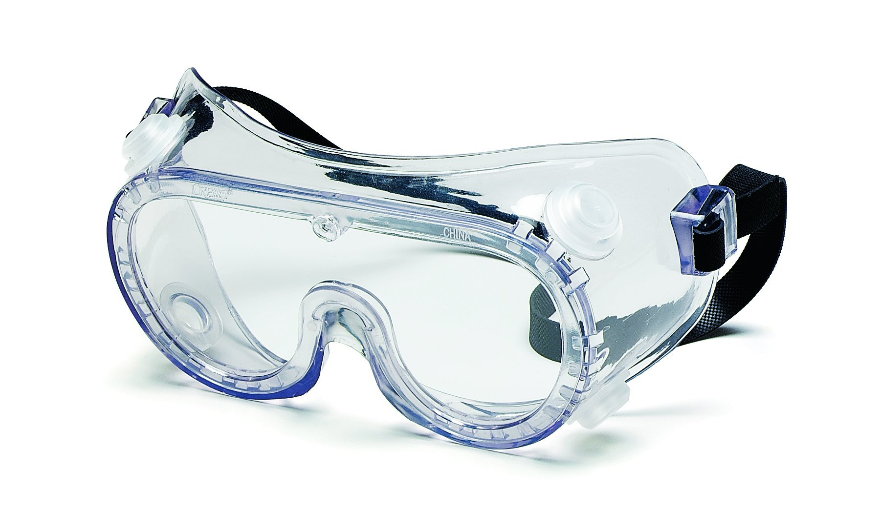 MCR Safety 2235R Economy Polyvinyl Chloride Strap Indirect Ventilation General Purpose Goggle with Clear Frame and Clear Anti-Fog Lens