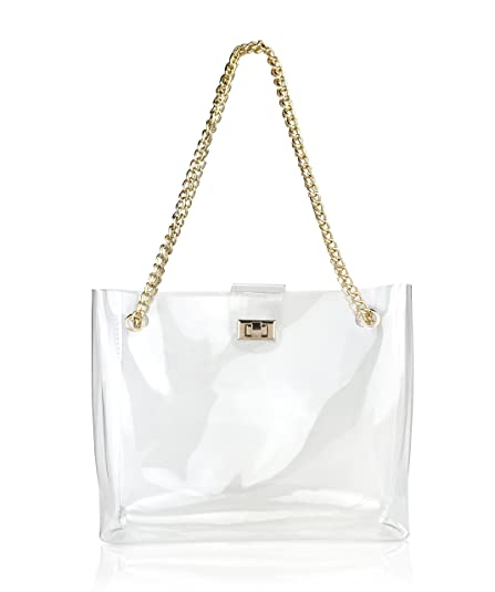 Amazon.com  Multifunction Clear Chain Tote with Turn Lock Womens Shoulder  Handbag (Clear)  Shoes 5299e3ddcb5ce
