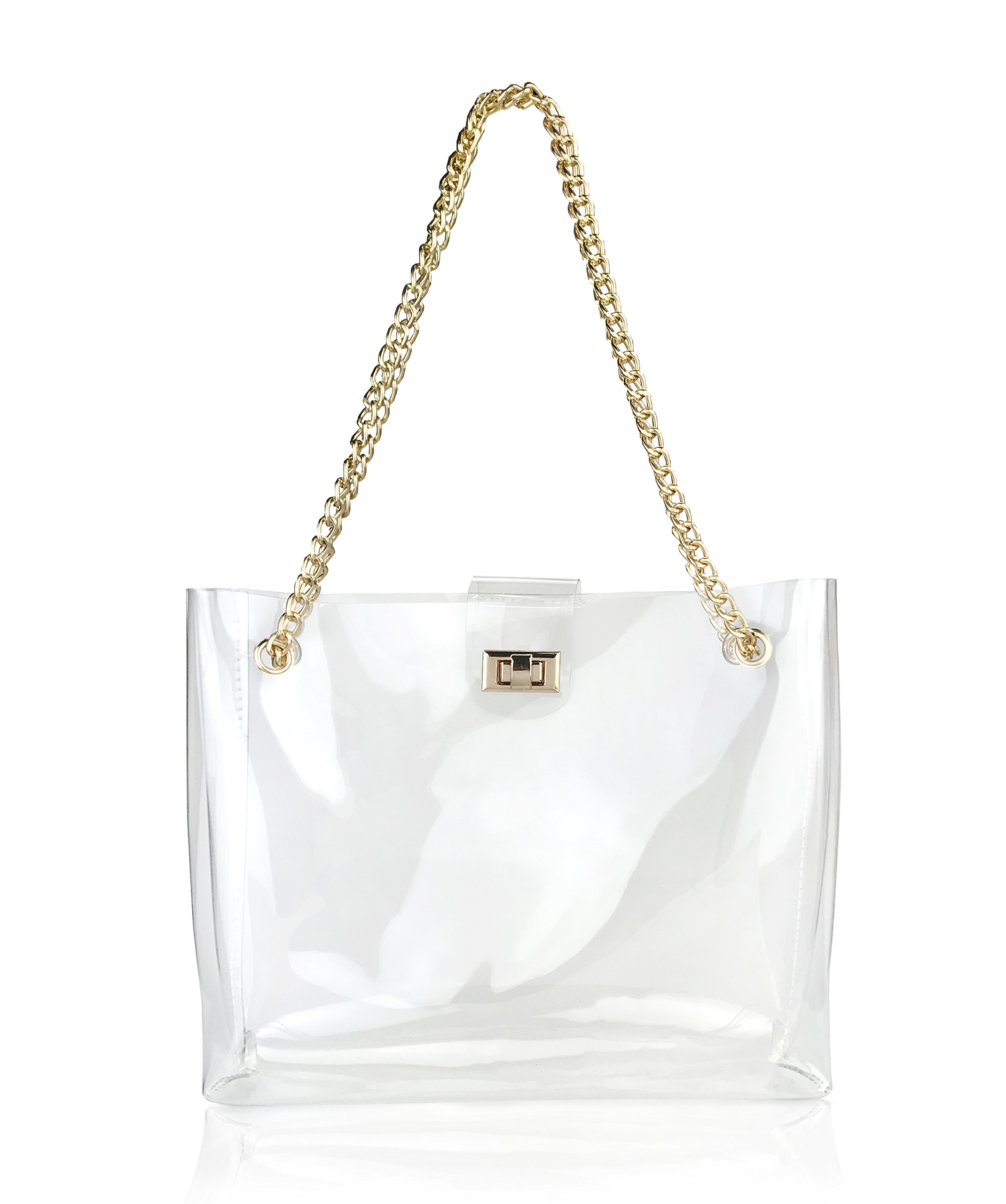 Multifunction Clear Chain Tote with Turn Lock Womens Shoulder Handbag (Clear) by Hoxis (Image #1)