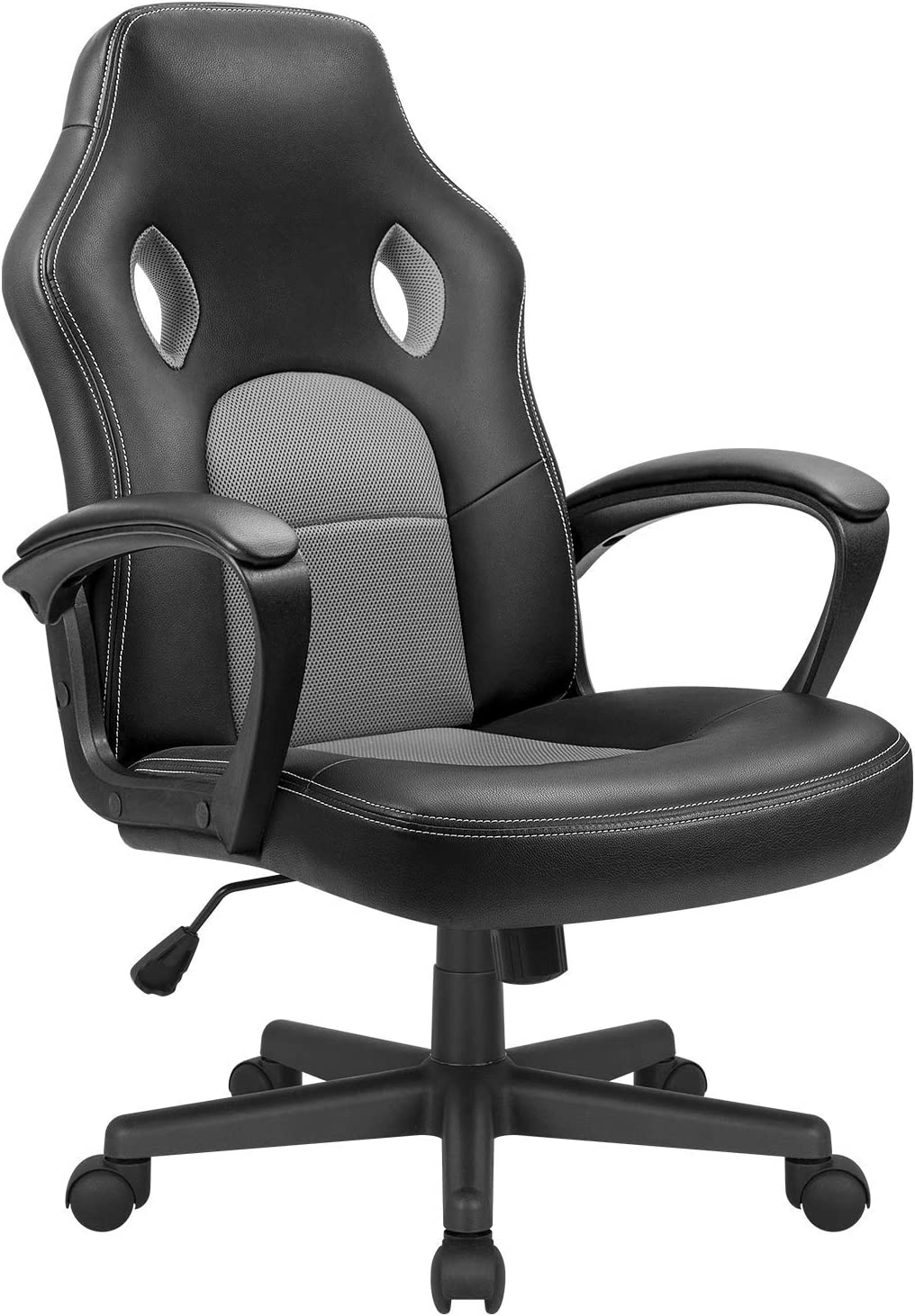 KaiMeng Office Gaming Chair Leather Computer Chair High Back Ergonomic Adjustable Racing Chair Executive Conference Chair (Grey)