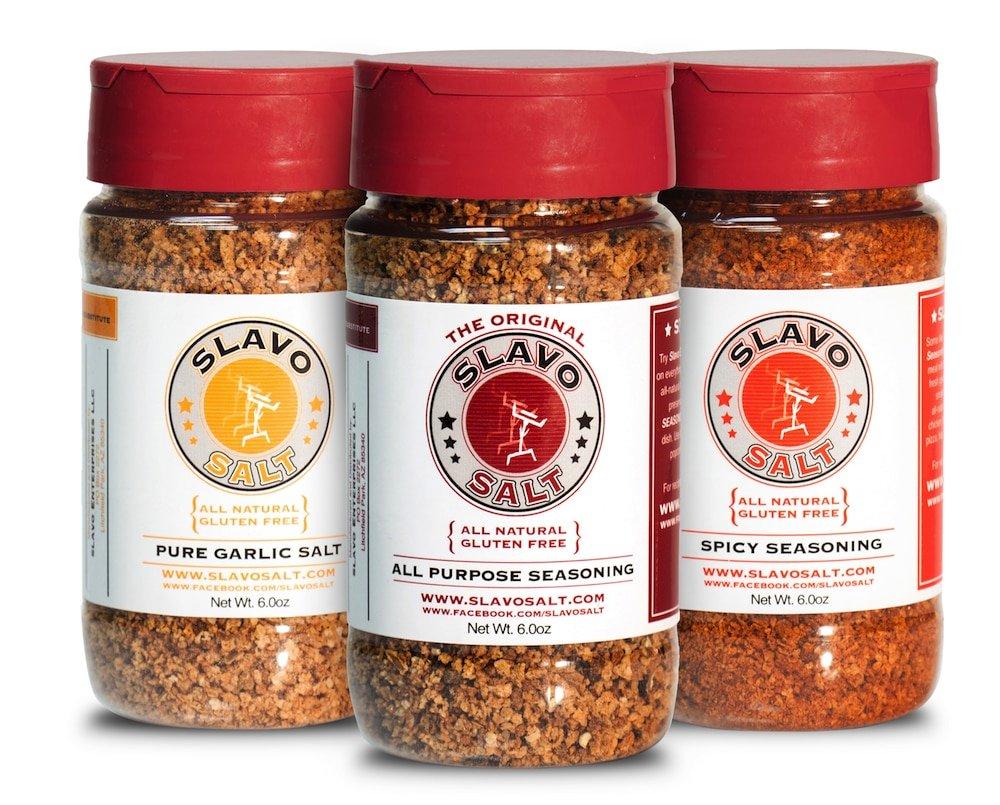 Slavo Salt Seasonings Trio - three 6oz bottles of Slavo's All Natural Seasonings - All Purpose, Pure Garlic and Spicy Seasonings