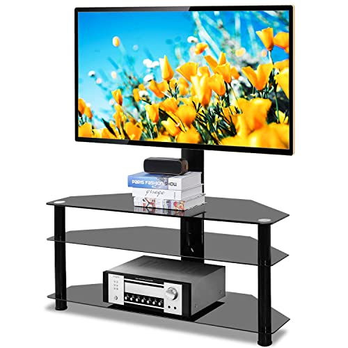 5Rcom Swivel Corner Floor TV Stand with Mount Bracket for 37 42 47 50 55 60 65 70 inch Plasma LCD LED Flat or Curved Screen TVs,3 Tier Tempered Glass Shelves for Media Weight Capacity 110lbs