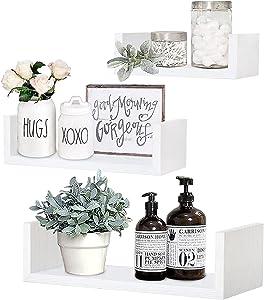 QEEIG White Floating Shelves U Shelf for Bathroom Wall Mounted Bedroom Kitchen Living Room Shelving Small Bookshelf Modern Shelfs Set of 3 (007-W)
