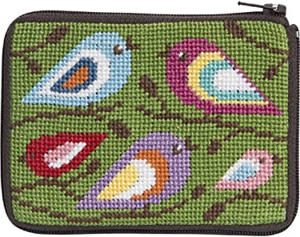 Stitch and Zip Coin//Credit Card Case Needlepoint Kit-Red Asian Floral SZ202 by Stitch /& Zip