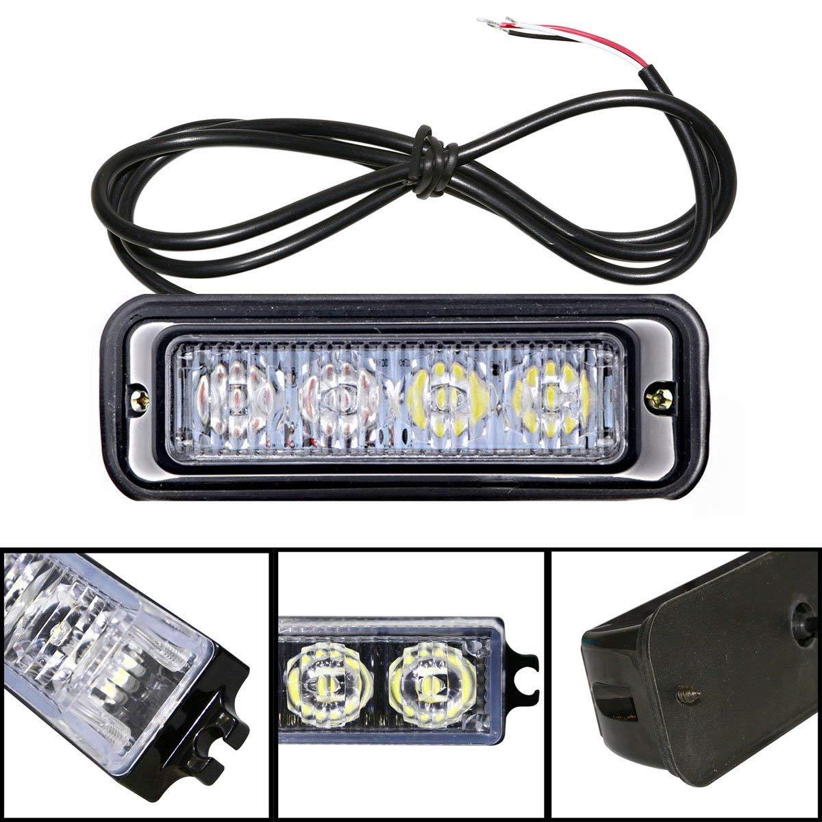 Favson 4 LED Strobe Lights for Trucks Cars Van with High Intensity White/&Yellow Emergency Flasher 2pcs