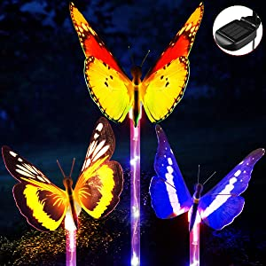 Garden Solar Lights, YUNLIGHTS 3pcs Outdoor Garden Stake Lights Multi-Color Changing LED Fiber Optic Butterfly with Purple LED Light Stake for Garden Patio Backyard Decoration