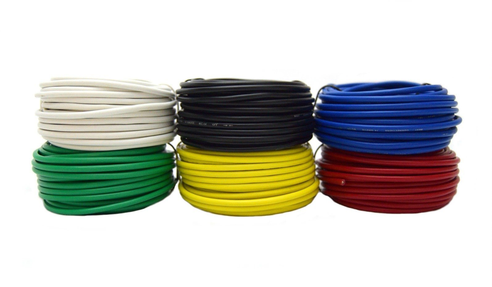 14 GA Single Conductor Stranded Remote Primary Wire 12V 6 Rolls 25 Feet Each 150' Total