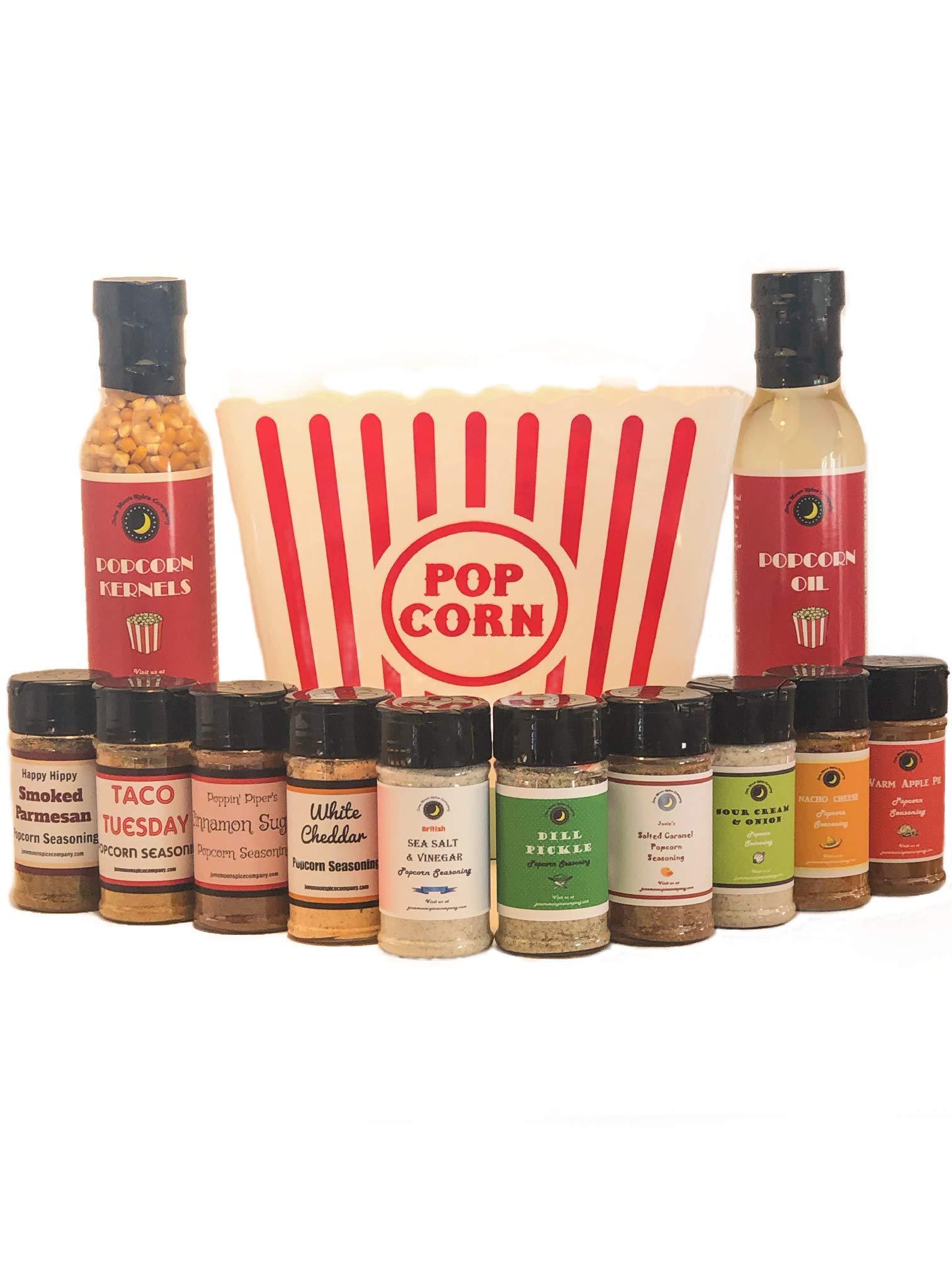 Popcorn Party | BEST SELLING POPCORN SEASONING Variety 10 Pack | Saled Caramel | White Cheddar | Taco | Apple Pie | Nacho Cheese | Sea Salt & Vinegar | Cinnamon Sugar | Dill Pickle | etc.