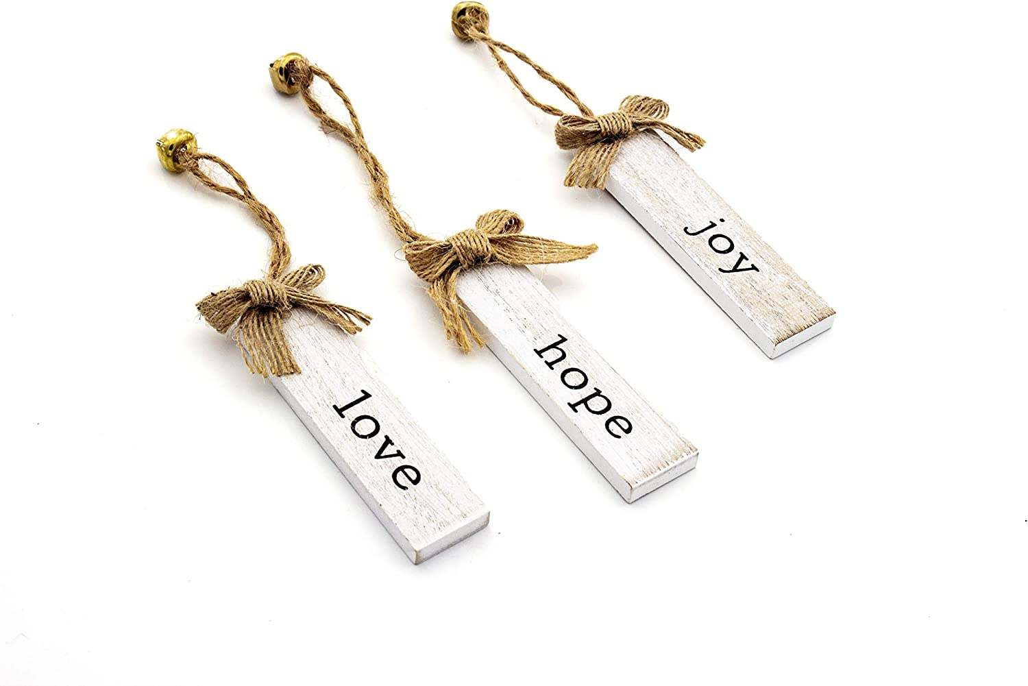 Elysian Gift Shop Rustic Natural Wood Christmas Tree Hanging Ornament Set. Hope, Love and Joy Farmhouse Christmas Decor Ornaments with Bell Charm and Burlap Bow (Pack of 3)