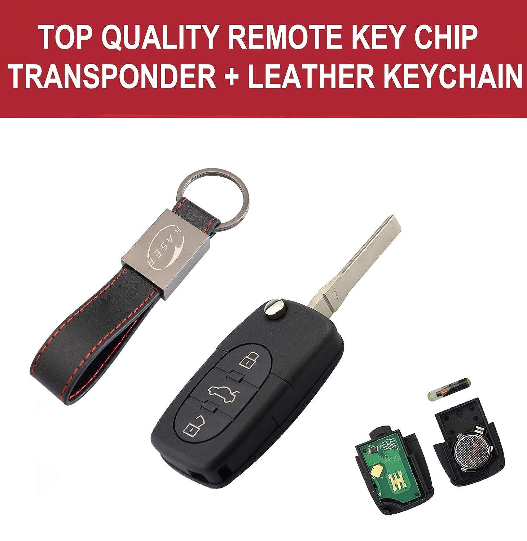 3 Botones para A1 A3 A4 A6 A8 Q3 Q5 TT Transponder Mando a Distancia Coche con Llavero KASER Llave para Audi con Tarjeta Electr/ónica 433MHz ID48 Chip 4D0837231A