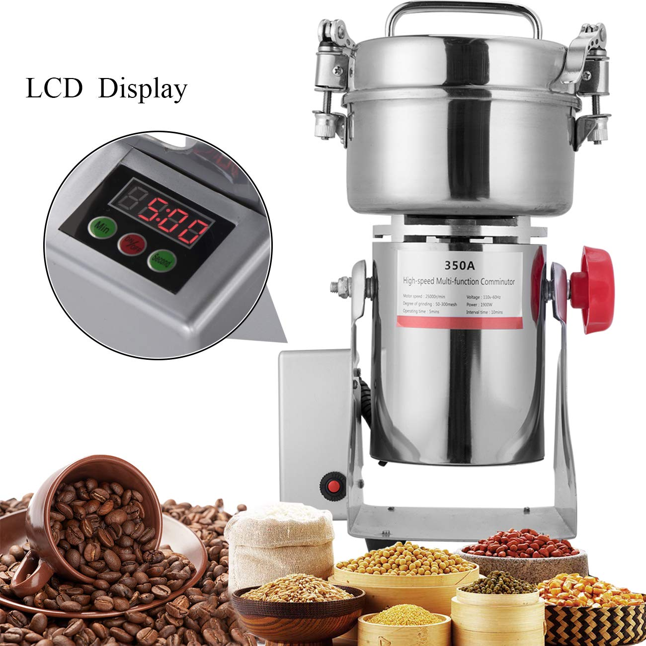 APWONE 350G Electric Grain Mills Grinder Powder LCD Digital Stainless Steel Ultra Grinder Machine Pulverizer for Kitchen Herb Spice Pepper Coffee Corn by APWONE
