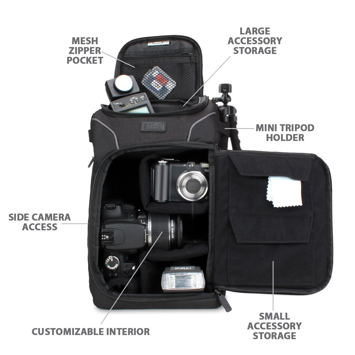 Amazon.com : Portable DSLR Camera Bag by USA Gear with Rain Cover ...