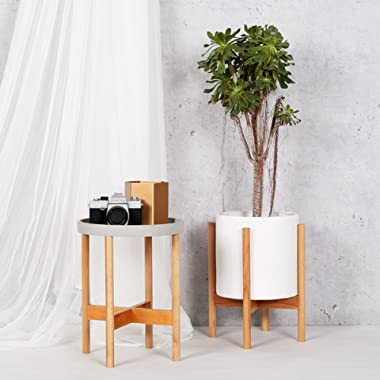 RISEON Mid Century Modern Plant Stand, Wood Indoor Flower Pot Holder Display Potted Rack Rustic,Large Wooden Floor Planter Stand (Planter Not Included) (Medium, Natural)