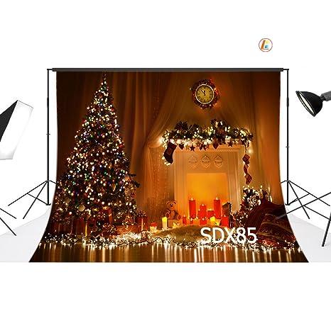 love-baby vinilo Interior Árbol de Navidad y Festoon Lámparas fondos 7 x 5ft/