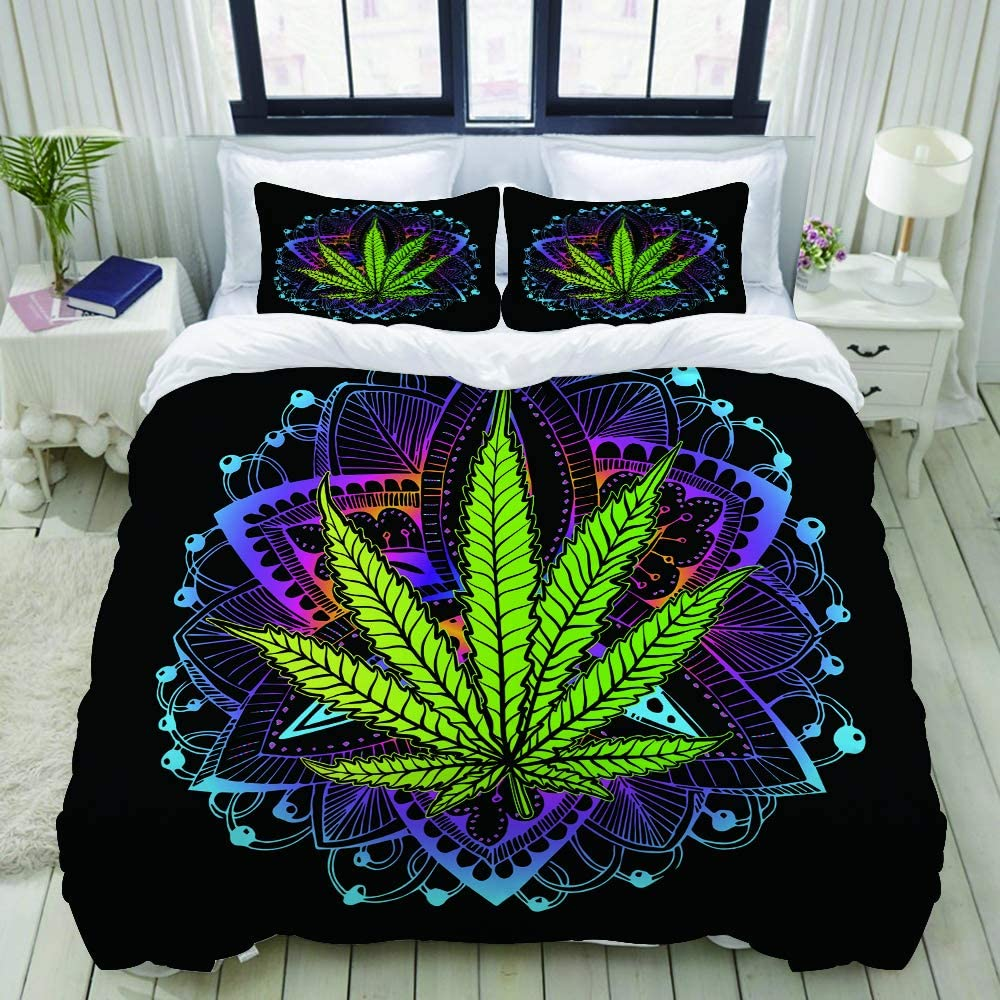 LUBATAGA Duvet Cover Set,Cannabis Leaf, Marijuana, herb, Weed, Ganja. Illicit Narcotic, Illegal Drug, Decorative 3 Piece Bedding Set with 2 Pillow Shams,Twin