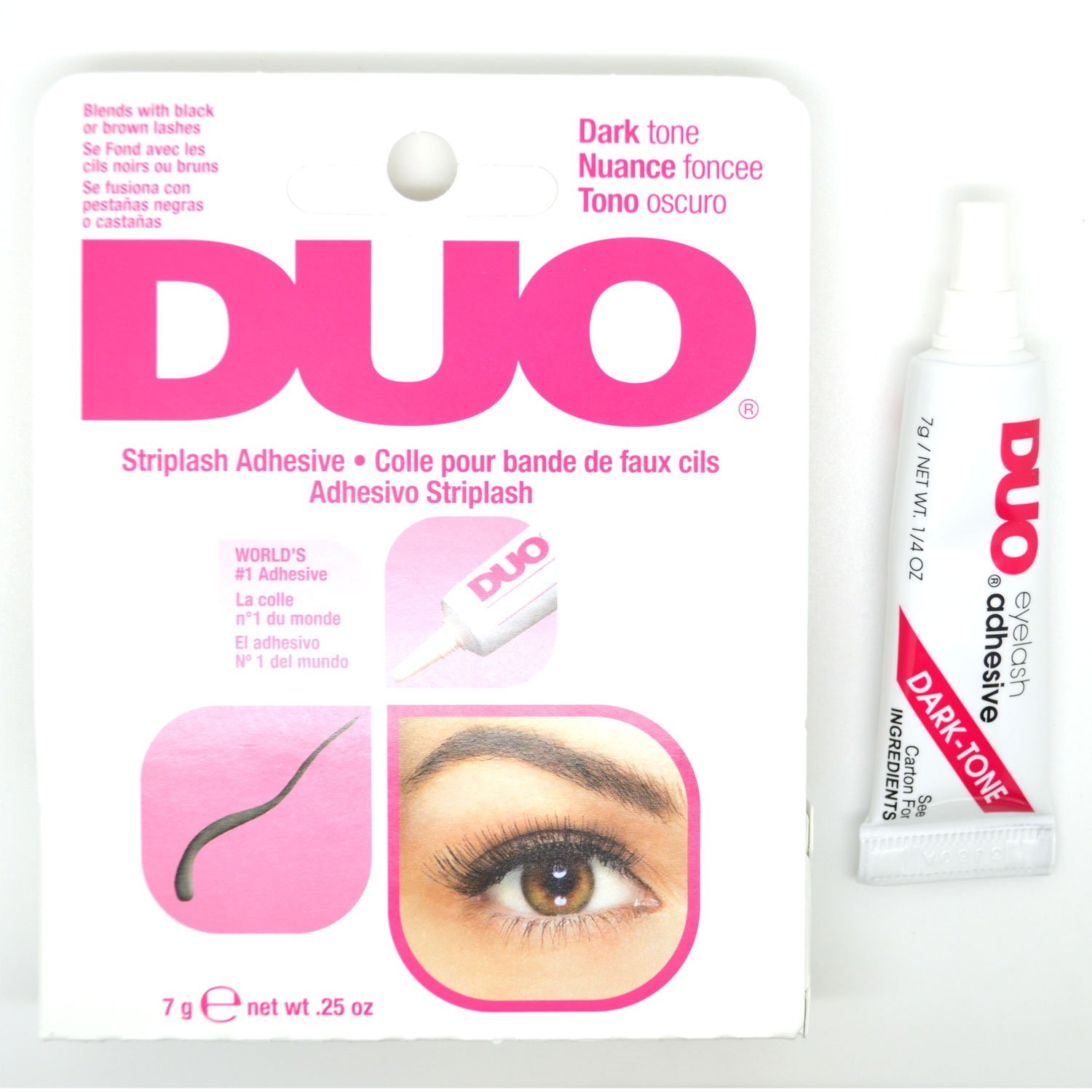 Amazon.com : 1 DUO DARK TONE STRIPLASH ADHESIVE GLUE WATERPROOF EYELASHES EYE LASH 240593 + FREE EARRING : Beauty