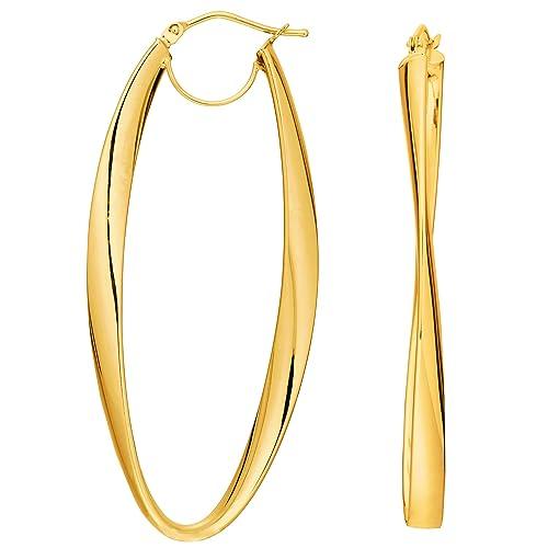 1a206bc2fa60 14 K oro 2 mm brillante pendientes de aro ondulado  Amazon.es  Joyería