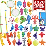 CozyBomB Magnetic Fishing Pool Toys Game for Kids - Water Table Bath-tub Kiddie Party Toy with Pole Rod Net Plastic Floating