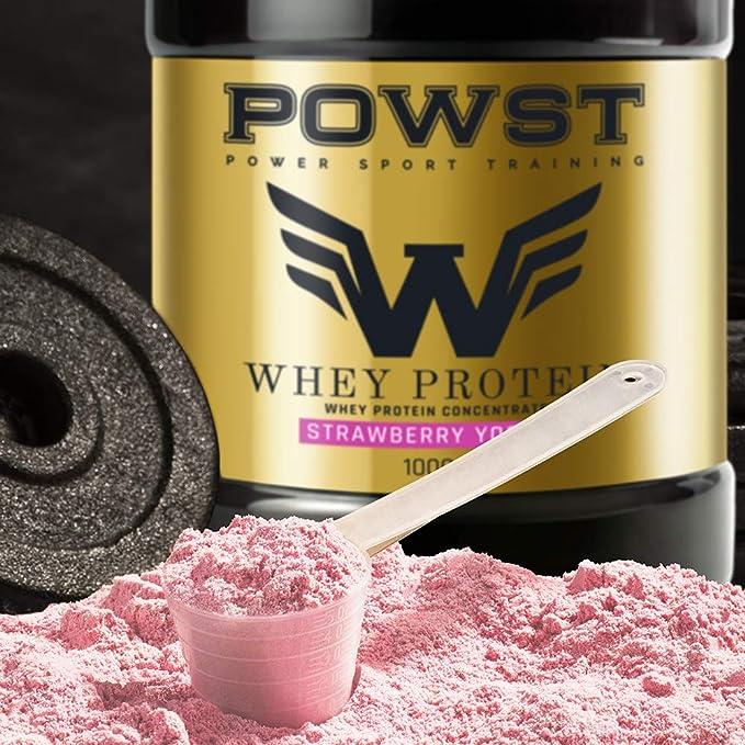 Bote Proteina Whey, Proteína de suero de leche en polvo, 1Kg (sabor Yogur con Fresas) POWST